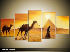 Acryl Schilderij Egypte | Bruin, Geel | 150x70cm 5Luik Handgeschilderd
