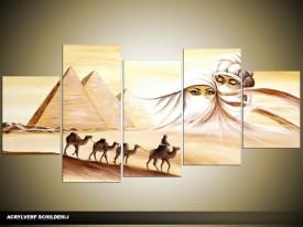 Acryl Schilderij Egypte | Geel, Crème | 150x70cm 5Luik Handgeschilderd