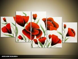Acryl Schilderij Klaproos   Rood, Wit, Groen   150x70cm 5Luik Handgeschilderd