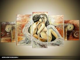 Acryl Schilderij Kunst, Sexy   Bruin, Crème   150x70cm 5Luik Handgeschilderd