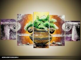Acryl Schilderij Klassiek | Groen, Bruin, Grijs | 150x70cm 5Luik Handgeschilderd