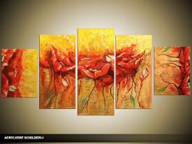 Acryl Schilderij Modern   Rood, Geel, Oranje   150x70cm 5Luik Handgeschilderd