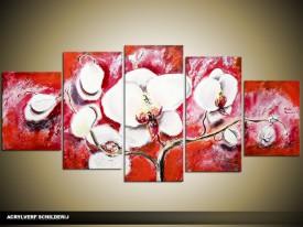 Acryl Schilderij Orchidee | Rood, Wit | 150x70cm 5Luik Handgeschilderd