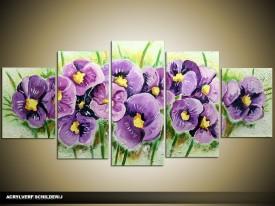 Acryl Schilderij Lente   Paars, Groen   150x70cm 5Luik Handgeschilderd