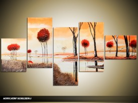 Acryl Schilderij Natuur | Crème, Rood, Bruin | 160x70cm 5Luik Handgeschilderd