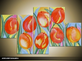 Acryl Schilderij Tulp | Oranje, Geel, Rood | 100x60cm 5Luik Handgeschilderd