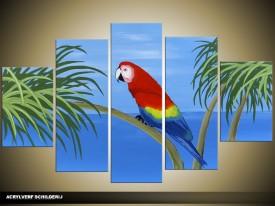 Acryl Schilderij Vogel   Rood, Blauw, Groen   100x60cm 5Luik Handgeschilderd