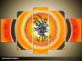 Acryl Schilderij Modern | Oranje, Geel | 100x60cm 5Luik Handgeschilderd