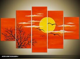 Acryl Schilderij Natuur   Rood, Oranje, Geel   100x60cm 5Luik Handgeschilderd