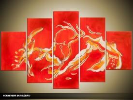 Acryl Schilderij Modern | Oranje, Rood, Geel | 100x60cm 5Luik Handgeschilderd