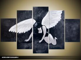 Acryl Schilderij Modern   Grijs, Wit, Zwart   100x60cm 5Luik Handgeschilderd