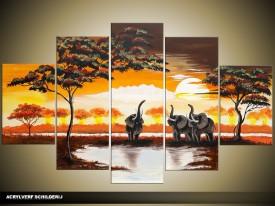 Acryl Schilderij Natuur | Bruin, Geel | 100x60cm 5Luik Handgeschilderd