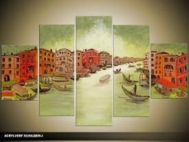 Acryl Schilderij Venetie | Groen, Rood | 100x60cm 5Luik Handgeschilderd