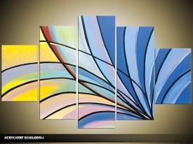 Acryl Schilderij Modern | Blauw, Geel | 100x60cm 5Luik Handgeschilderd