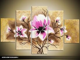 Acryl Schilderij Woonkamer | Paars, Roze, Bruin | 100x60cm 5Luik Handgeschilderd
