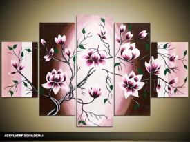 Acryl Schilderij Magnolia | Paars, Roze, Bruin | 100x60cm 5Luik Handgeschilderd