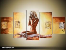 Acryl Schilderij Kunt | Geel, Bruin | 150x70cm 5Luik Handgeschilderd