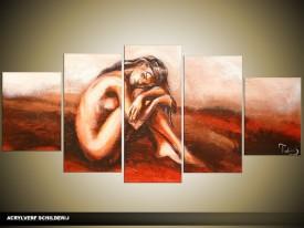 Acryl Schilderij Kunst, Sexy   Rood, Bruin, Crème   150x70cm 5Luik Handgeschilderd