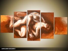 Acryl Schilderij Kunst, Sexy | Bruin, Crème, Oranje | 150x70cm 5Luik Handgeschilderd