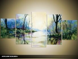 Acryl Schilderij Natuur | Blauw, Groen, Crème | 150x70cm 5Luik Handgeschilderd