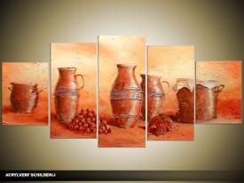 Acryl Schilderij Vazen | Bruin, Oranje | 150x70cm 5Luik Handgeschilderd