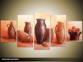 Acryl Schilderij Vazen | Bruin, Crème | 150x70cm 5Luik Handgeschilderd