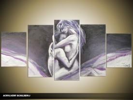 Acryl Schilderij Kunst, Sexy | Paars, Grijs | 150x70cm 5Luik Handgeschilderd