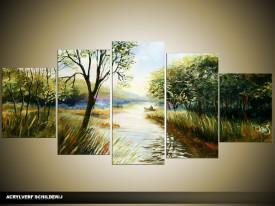 Acryl Schilderij Natuur | Groen | 150x70cm 5Luik Handgeschilderd