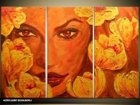 Acryl Schilderij Vrouw   Bruin, Oranje   120x80cm 3Luik Handgeschilderd