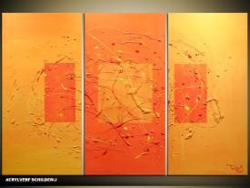 Acryl Schilderij Modern | Oranje, Bruin | 120x80cm 3Luik Handgeschilderd