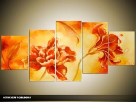 Acryl Schilderij Bloemen | Oranje, Geel | 150x70cm 5Luik Handgeschilderd
