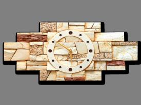 Wandklok gips reliëf | decoratieve steen motief | G | 58x27x3cm.