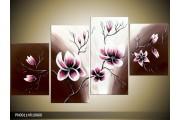 Acryl Schilderij Magnolia | Bruin, Crème, Roze | 120x65cm 4Luik Handgeschilderd