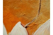 Acryl Schilderij Tulp | Grijs, Oranje, Groen | 100x60cm 5Luik Handgeschilderd