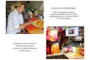 Acryl Schilderij Modern | Bruin, Crème, Groen | 150x70cm 5Luik Handgeschilderd