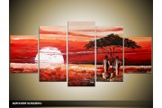 Acryl Schilderij Afrika | Rood, Wit | 150x70cm 5Luik Handgeschilderd