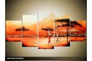Acryl Schilderij Afrika | Oranje, Rood | 150x70cm 5Luik Handgeschilderd
