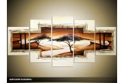 Acryl Schilderij Natuur | Wit, Bruin | 150x70cm 5Luik Handgeschilderd