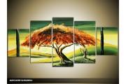 Acryl Schilderij Natuur | Bruin, Groen, Geel | 150x70cm 5Luik Handgeschilderd