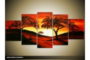 Acryl Schilderij Boom | Rood, Oranje, Zwart | 150x70cm 5Luik Handgeschilderd