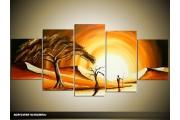 Acryl Schilderij Boom | Bruin, Geel, Crème | 150x70cm 5Luik Handgeschilderd