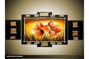 Acryl Schilderij Klaproos | Zwart, Oranje, Geel | 150x70cm 5Luik Handgeschilderd