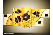 Acryl Schilderij Klaproos | Geel, Crème | 150x70cm 5Luik Handgeschilderd