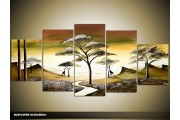 Acryl Schilderij Boom | Groen, Bruin | 150x70cm 5Luik Handgeschilderd