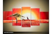 Acryl Schilderij Zonsondergang | Geel, Rood, Oranje | 150x70cm 5Luik Handgeschilderd