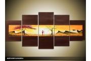 Acryl Schilderij Africa | Bruin, Crème | 150x70cm 5Luik Handgeschilderd