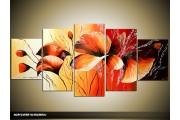 Acryl Schilderij Klaproos | Rood, Geel, Oranje | 150x70cm 5Luik Handgeschilderd