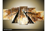 Acryl Schilderij Natuur | Bruin, Crème | 150x70cm 5Luik Handgeschilderd