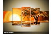 Acryl Schilderij Zonsondergang | Bruin, Geel, Oranje | 150x70cm 5Luik Handgeschilderd