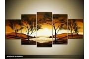 Acryl Schilderij Zonsondergang | Bruin, Geel, Crème | 150x70cm 5Luik Handgeschilderd